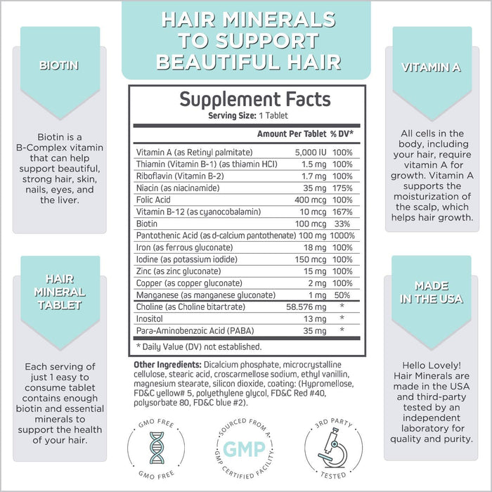 Hair Vitamins with Biotin, Vitamin A, Vitamin D, Vitamin B-12, Zinc - Made in USA - Extra Strength Hair, Skin, and Nails Vitamins and Minerals Formula for All Hair Types