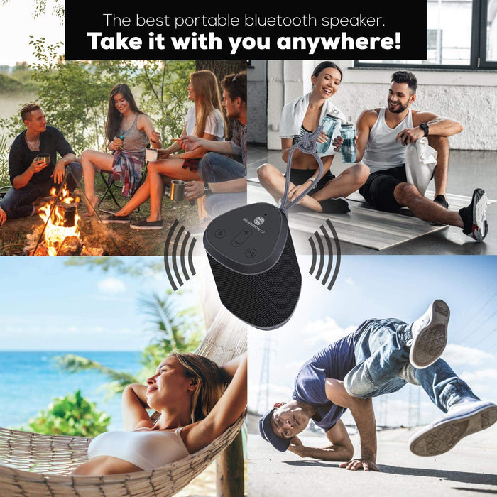 Bluetooth Speaker Portable Wireless Waterproof, from SilverOnyx, Loud Crystal Clear Stereo Sound, Rich Bass Subwoofer, Buit-in Mic, Ipx6 Rated Speakers, Perfect for Pool, Shower, Home, Travel - Black