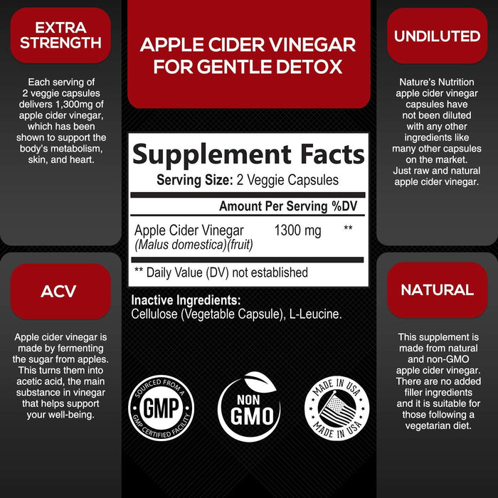 Natural Raw Apple Cider Vinegar Capsules from The Mother 1300mg - Extra Strength Natural Weight Support, Made in USA, Best Vegan ACV, Metabolism Support and Cleanse Supplement - 120 Capsules