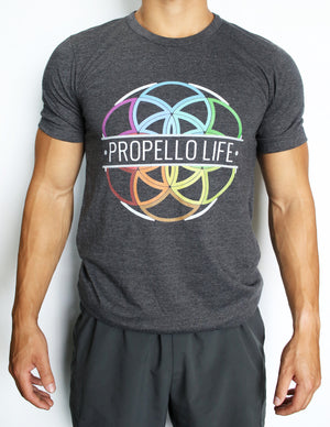Propello Life Unisex Tee _ Charcoal Grey with Full Color Logo