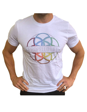 Propello Life Unisex Tee _ white with Full Color Logo front