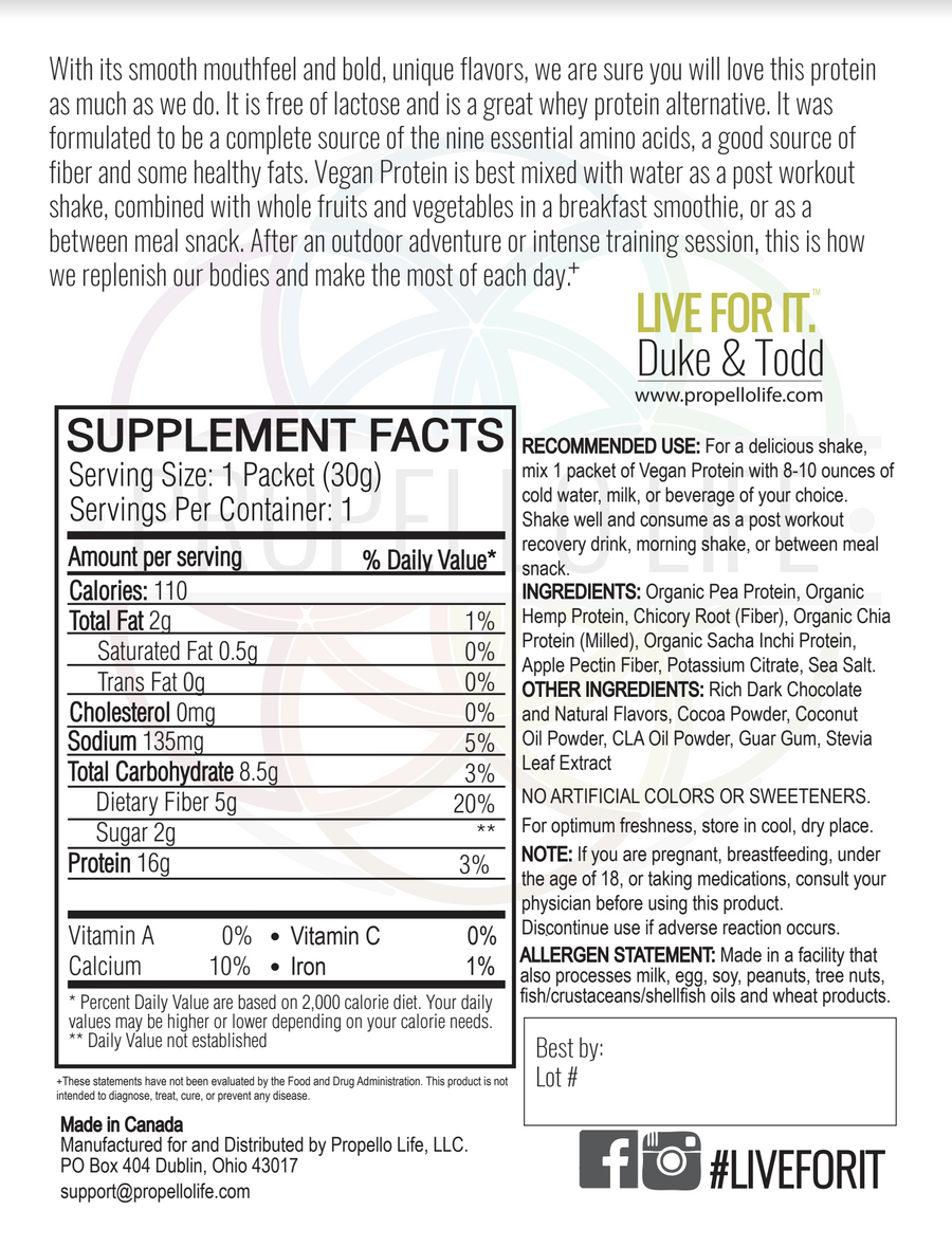 Propello Life Vegan Protein is the best plant based protein and is non-gmo back