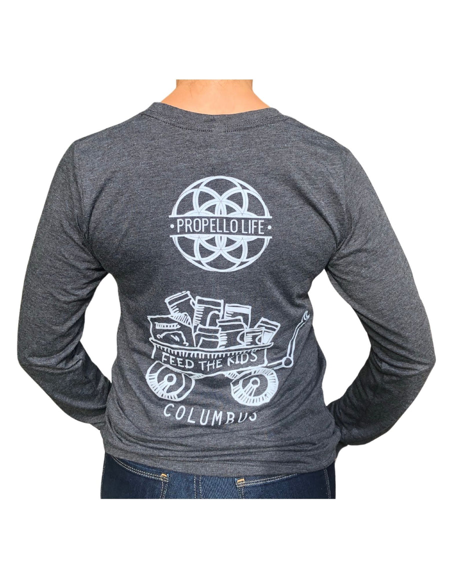 Propello Life and Feed The Kids Columbus long sleeve tee back