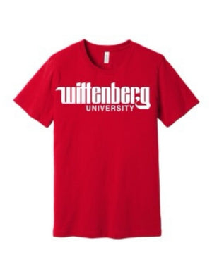 Classic Wittenberg University logo tee is super soft front red