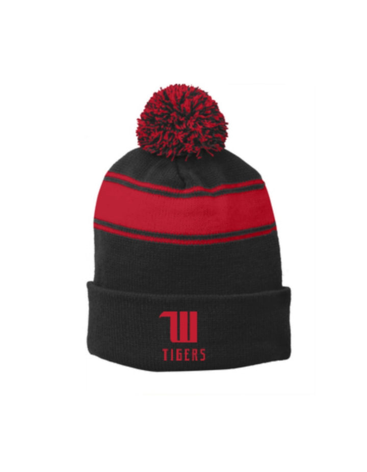 "Propello Life Wittenberg University ""W Tigers"" Embroidered Stripes Pom Pom Beanie Hat"