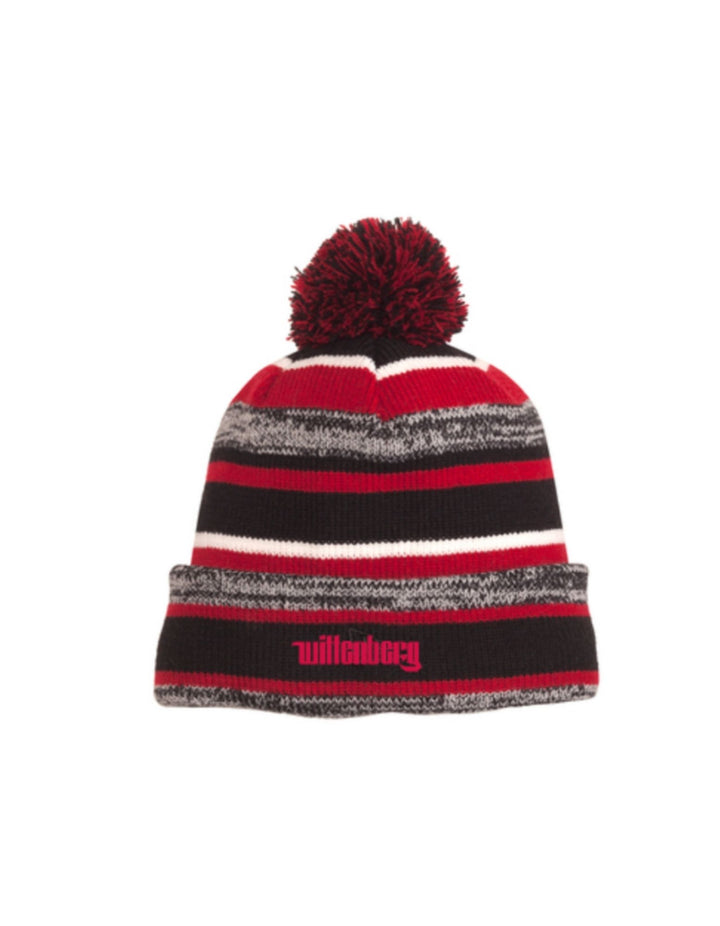 "Propello Life Wittenberg University ""Wittenberg"" Embroidered Stripes Pom Pom Fleece Lined Beanie Hat"