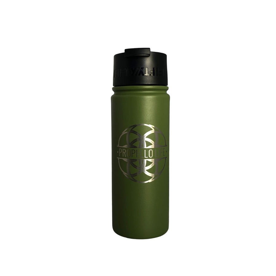 Propello Life 18oz Stainless Steel Water Bottles for our premium natural supplements olive green