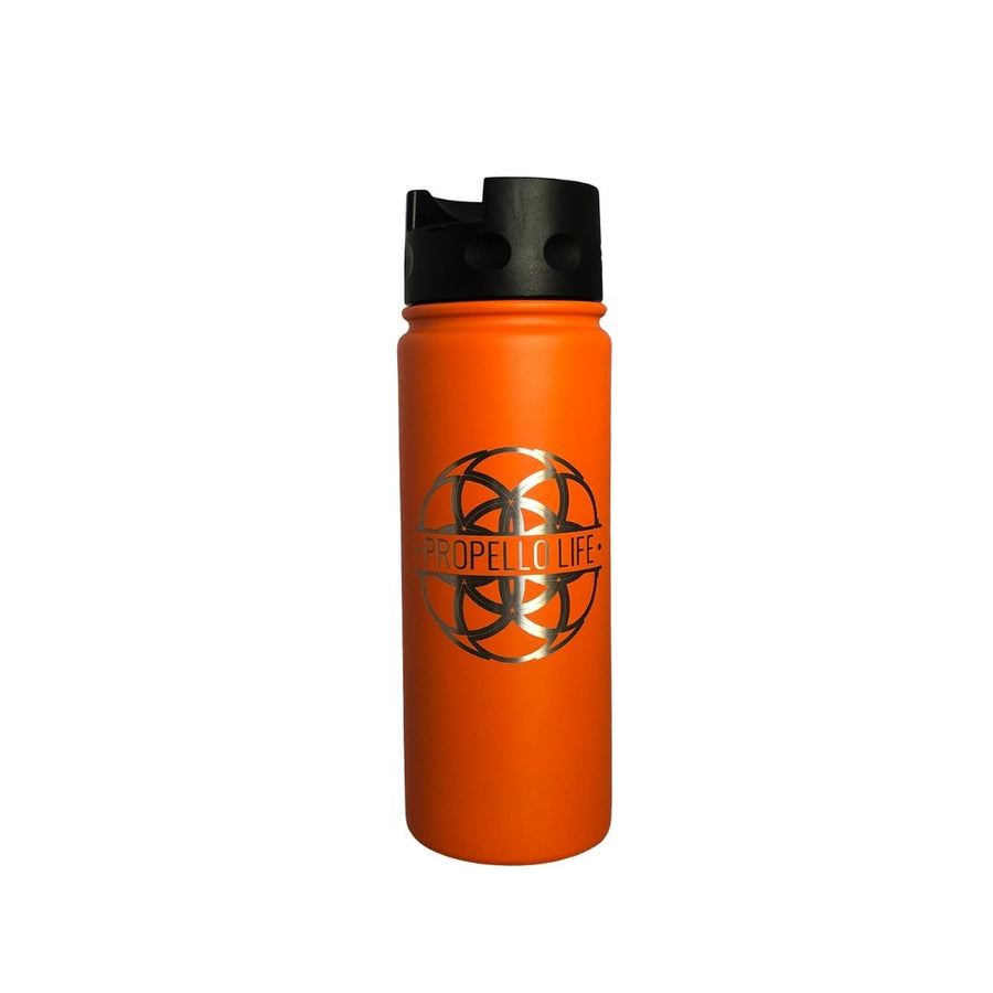 Propello Life 18oz Stainless Steel Water Bottles for our premium natural supplements orange