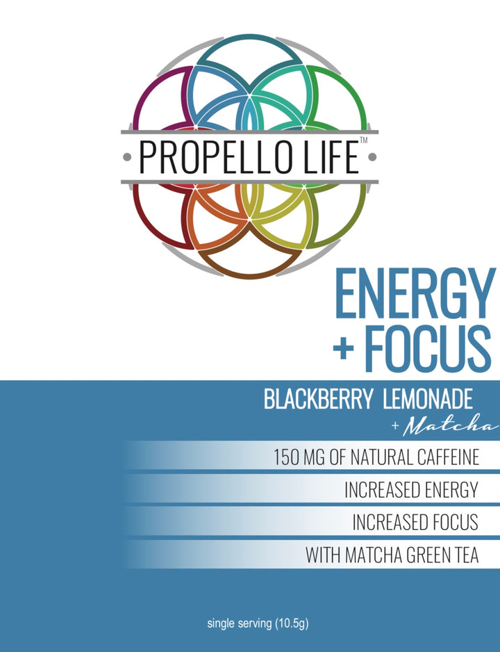 Propello Life Energy and Focus natural pre workout powered by matcha energy canister front panel