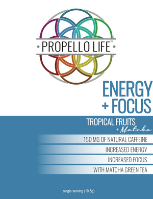 Propello Life Energy and Focus natural pre workout powered by matcha energy front panel