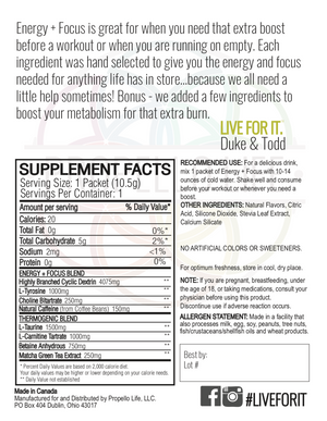 Propello Life Energy and Focus natural pre workout powered by matcha energy back panel