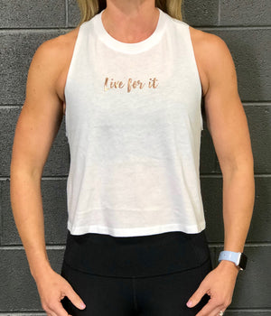 Propello Life crop tank top white with rose gold logo front. support our premium natural supplements