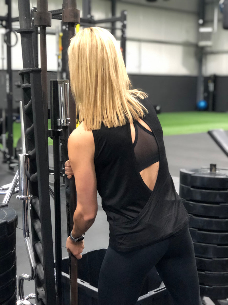 Propello Life open back black muscle tank silver logo back. support our premium natural supplements