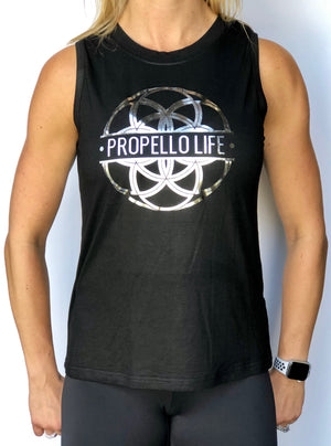 Propello Life open back black muscle tank silver logo front. support our premium natural supplements