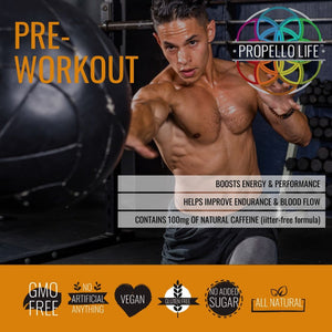The best vegan Pre Workout by Propello Life is a non-gmo natural supplements