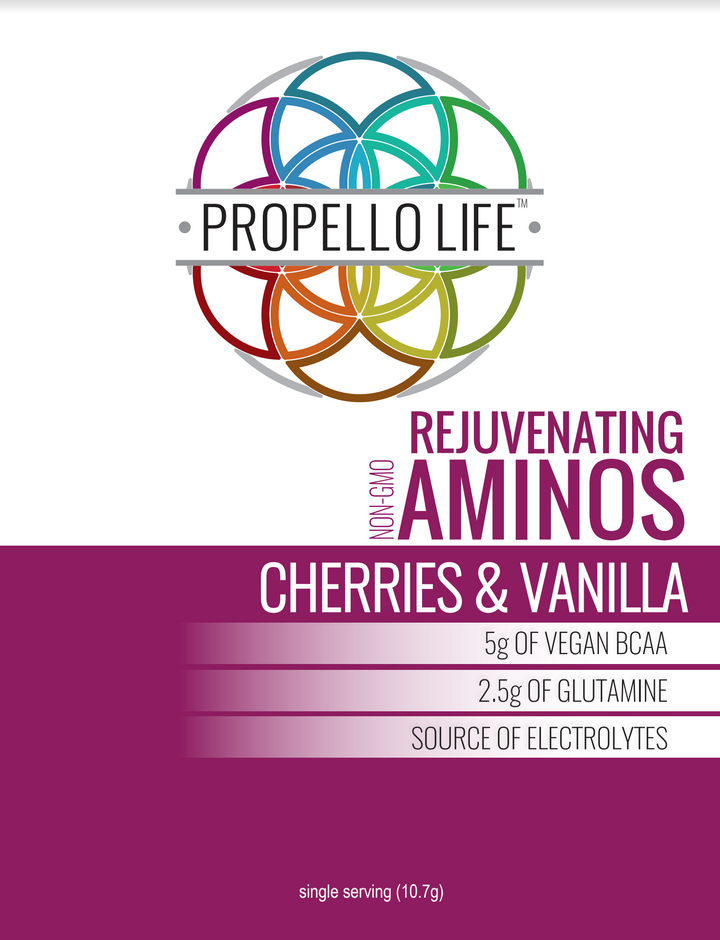 Propello Life Rejuvenating Aminos Cherries + Vanilla are the best vegan amino acids with vegan bcaas