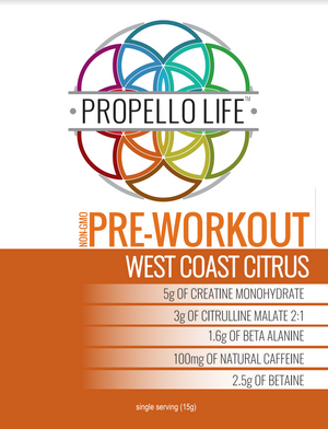 The best vegan Pre Workout by Propello Life is a non-gmo natural supplements product label front