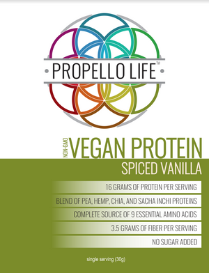 Propello Life Vegan Protein Spiced Vanilla is the best plant based protein and is non-gmo front