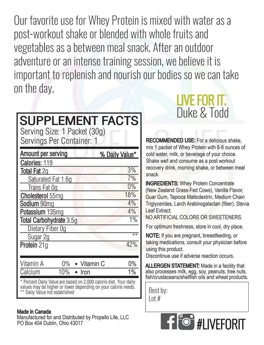 Propello Life certified grass fed Whey Protein Vanilla Bean is a non-gmo natural supplement back