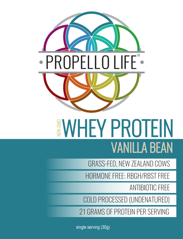 Propello Life certified grass fed Whey Protein Vanilla Bean is a non-gmo natural supplements front