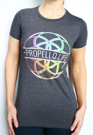 Propello Life multi-color logo women's t-shirt front. support our premium natural supplements