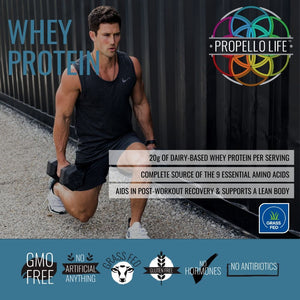 Propello Life certified grass fed Whey Protein is a non-gmo natural supplements lifestyle image