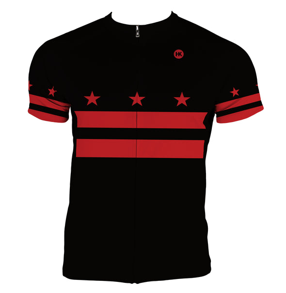DC Flag (Black) Men's Club-Cut Cycling Jersey by Hill Killer
