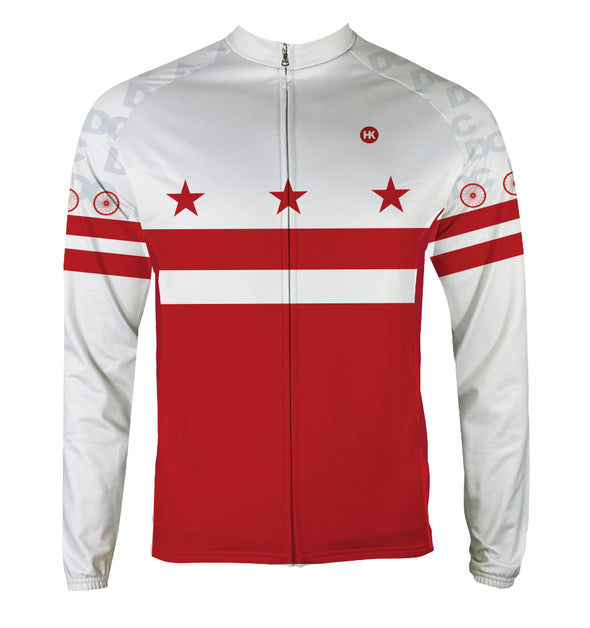 DC Flag Men's Thermal-Lined Cycling Jersey by Hill Killer