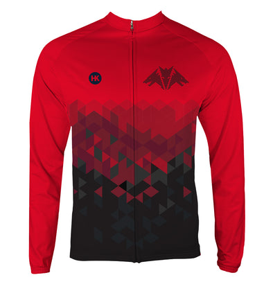 Dragon Red Men's Thermal-Lined Cycling Jersey by Hill Killer