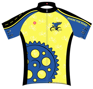 Franklin County Cyclists Jersey Custom Club-Cut Cycling Jersey by Hill Killer
