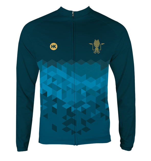 Kraken Blue Men's Thermal-Lined Cycling Jersey by Hill Killer