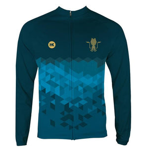 Kraken Blue Women's Thermal-Lined Cycling Jersey by Hill Killer
