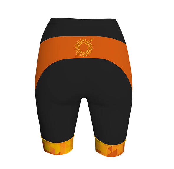 Sun Spear Orange Women's Performance Cycling Shorts by Hill Killer