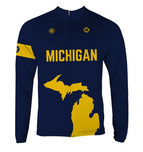 Michigan Men's Thermal-Lined Cycling Jersey by Hill Killer