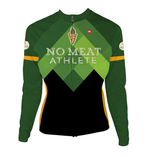 No Meat Athlete Women's Thermal-Lined Cycling Jersey by Hill Killer