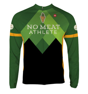 No Meat Athlete Men's Thermal-Lined Cycling Jersey by Hill Killer