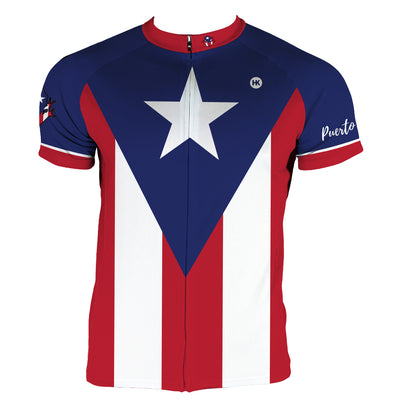 Puerto Rico Flag Men's Club-Cut Cycling Jersey by Hill Killer