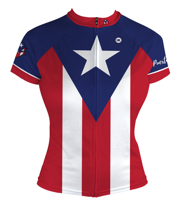 Puerto Rico Flag Women's Club-Cut Cycling Jersey by Hill Killer