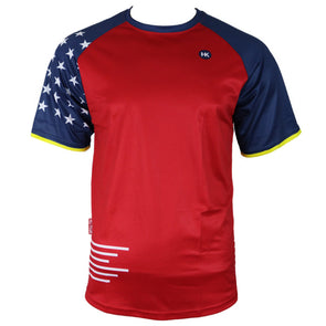 Red White and Blue Men's Mountain Bike Jersey by Hill Killer