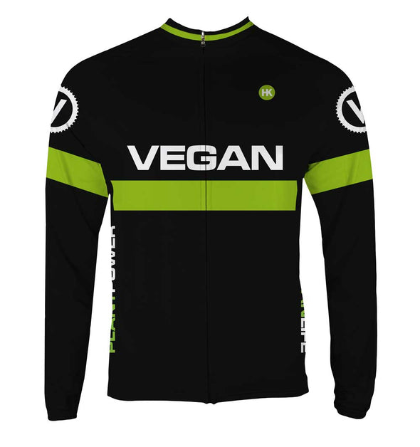 Retro Vegan Men's Thermal-Lined Cycling Jersey by Hill Killer