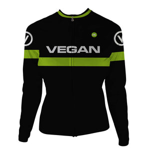 Retro Vegan Women's Thermal-Lined Cycling Jersey by Hill Killer