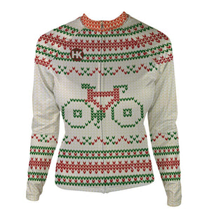 """Not So Ugly"" Christmas Sweater Women's Thermal-Lined Cycling Jersey by Hill Killer"