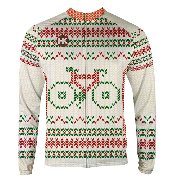 """Not So Ugly"" Christmas Sweater Men's Thermal-Lined Cycling Jersey by Hill Killer"
