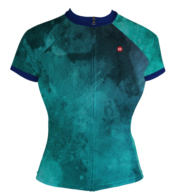 Ocean Turquoise Women's Club-Cut Cycling Jersey by Hill Killer