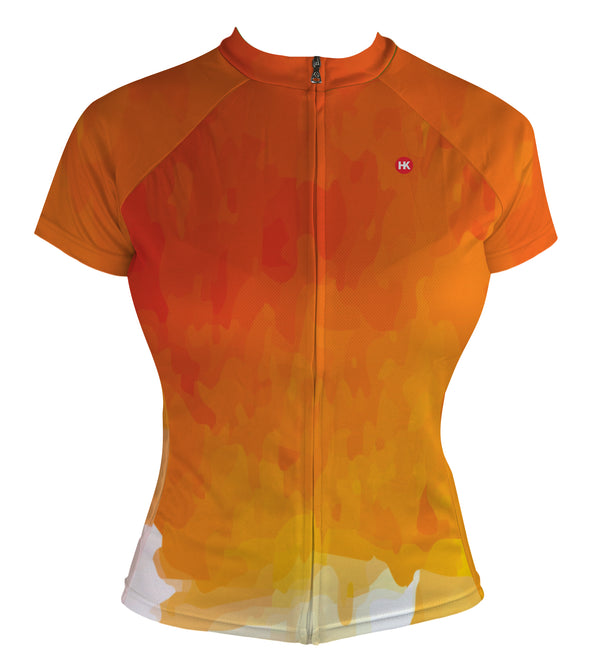 Fire Orange Women's Club-Cut Cycling Jersey by Hill Killer