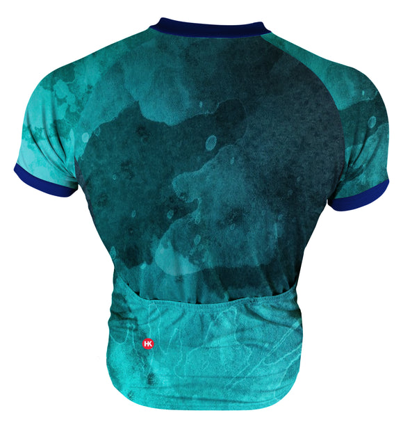 Ocean Turquoise Men's Club-Cut Cycling Jersey by Hill Killer