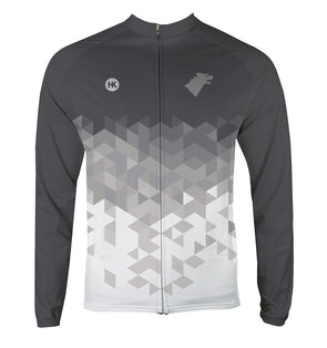 Direwolf Grey Men's Thermal-Lined Cycling Jersey by Hill Killer