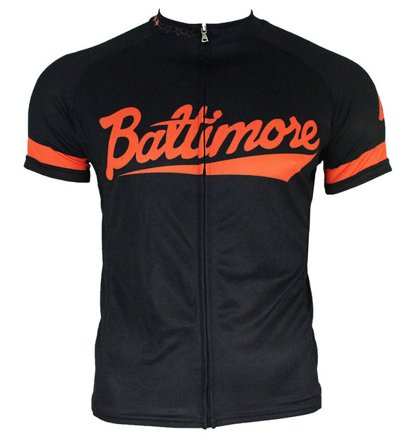 Baltimore 'Camden' Orange & Black Men's Club-Cut Cycling Jersey by Hill Killer