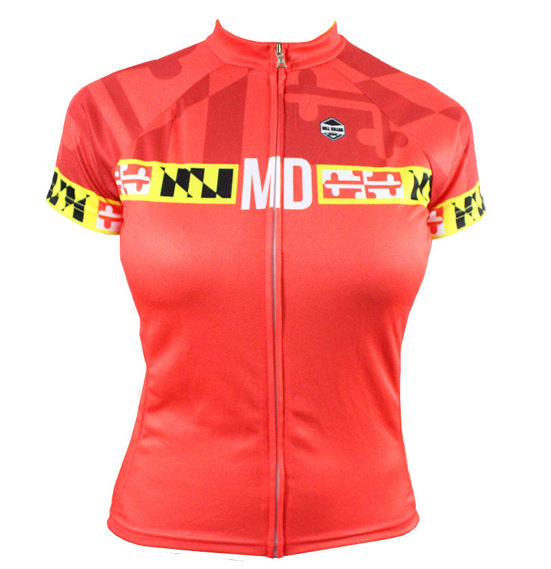 Maryland 'Banner Red' Women's Cycling Jersey | Hill Killer Apparel