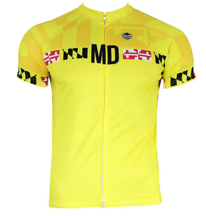 Maryland Calvert Yellow Men's Club-Cut Cycling Jersey by Hill Killer